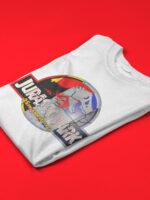 camiseta jurassic park 25 aniversario doblada blanca