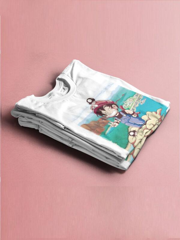 camiseta mario y goku en nube kington