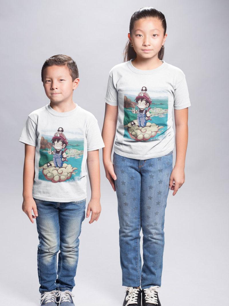 camiseta para niños fusion mario y goku en nube kington