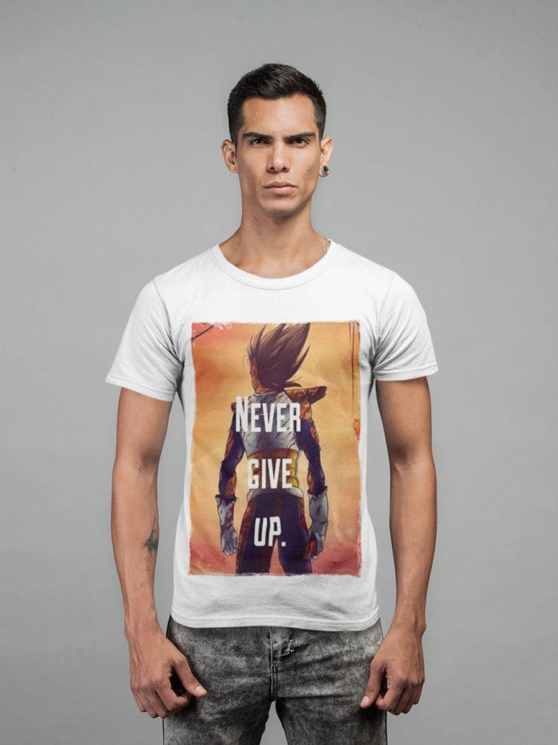 camiseta vegeta never give up