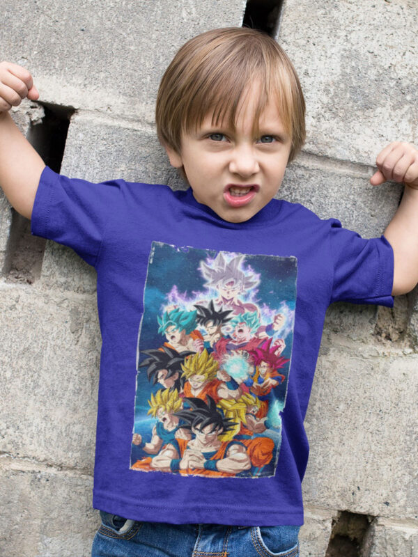 camiseta dragon ball super goku transformaciones niño azul