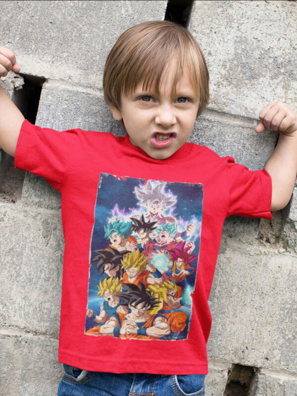 camiseta dragon ball super goku transformaciones niño rojo