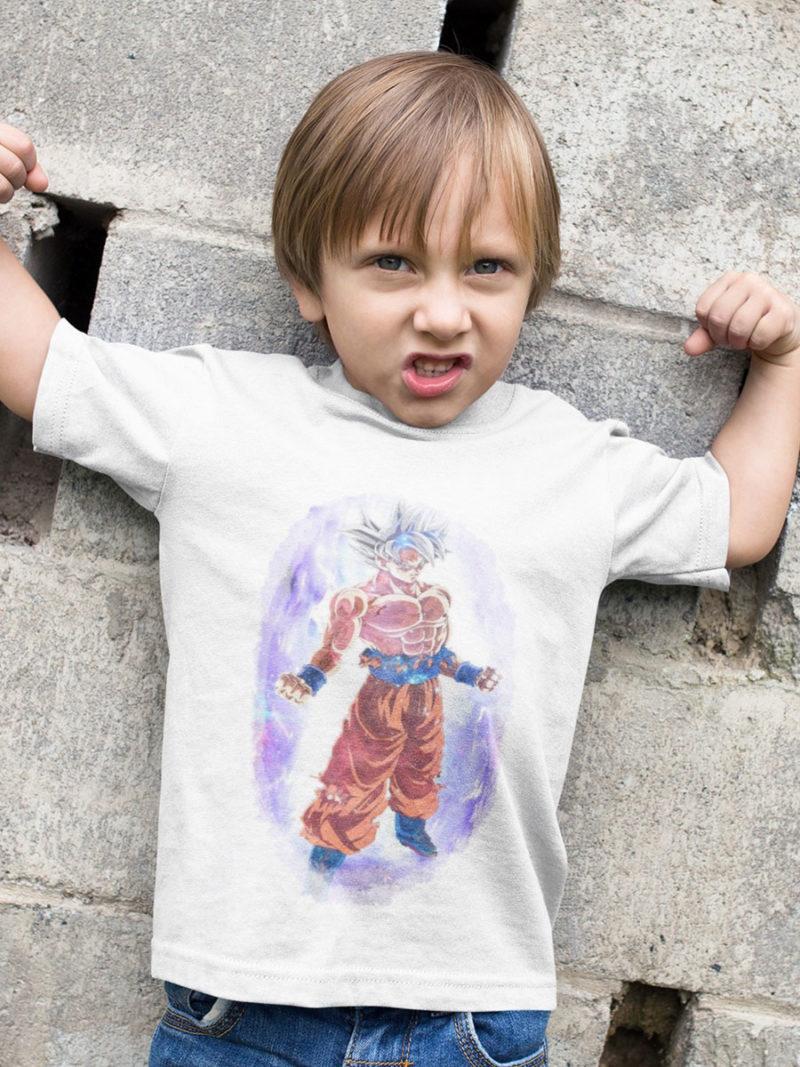 camiseta dragon ball super goku ultra instinto color blanco para niño