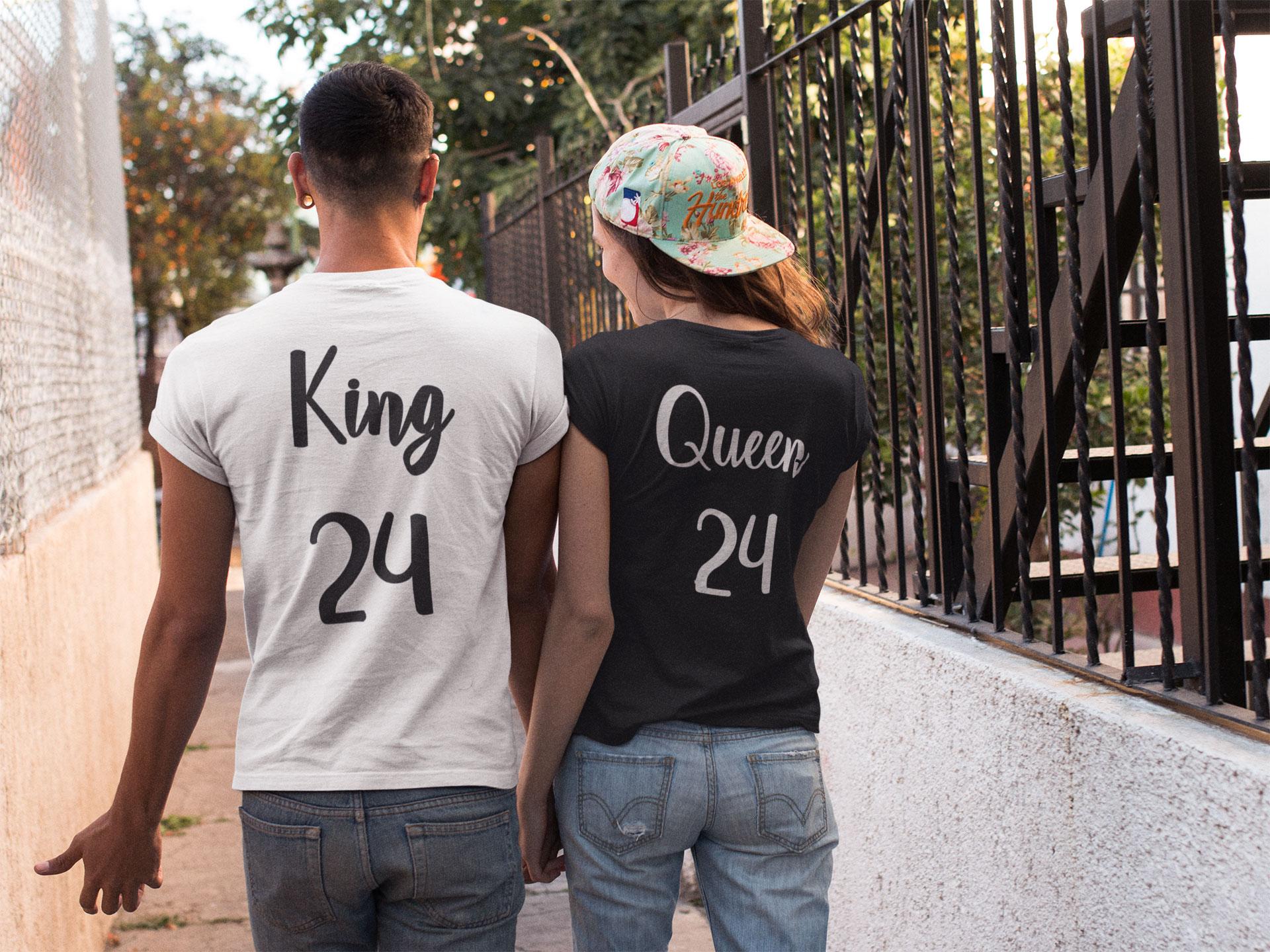 camisetas king y queen blanca y negra
