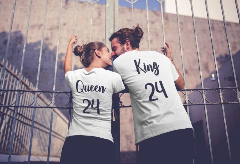 camisetas king y queen en color blanco