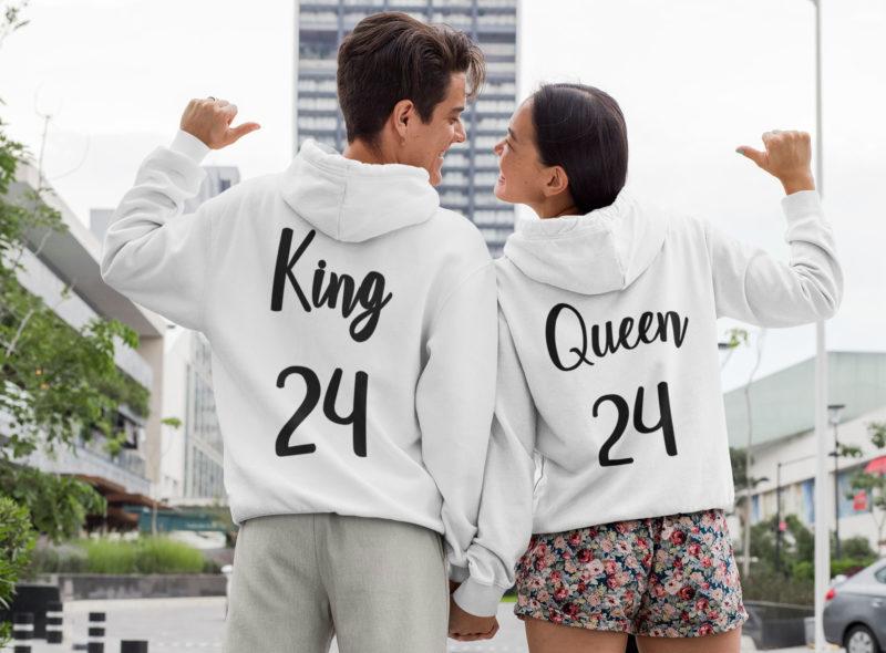 sudaderas blancas capucha king y queen