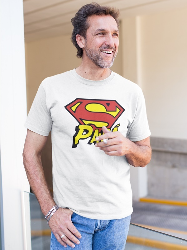 camiseta super papa en blanca