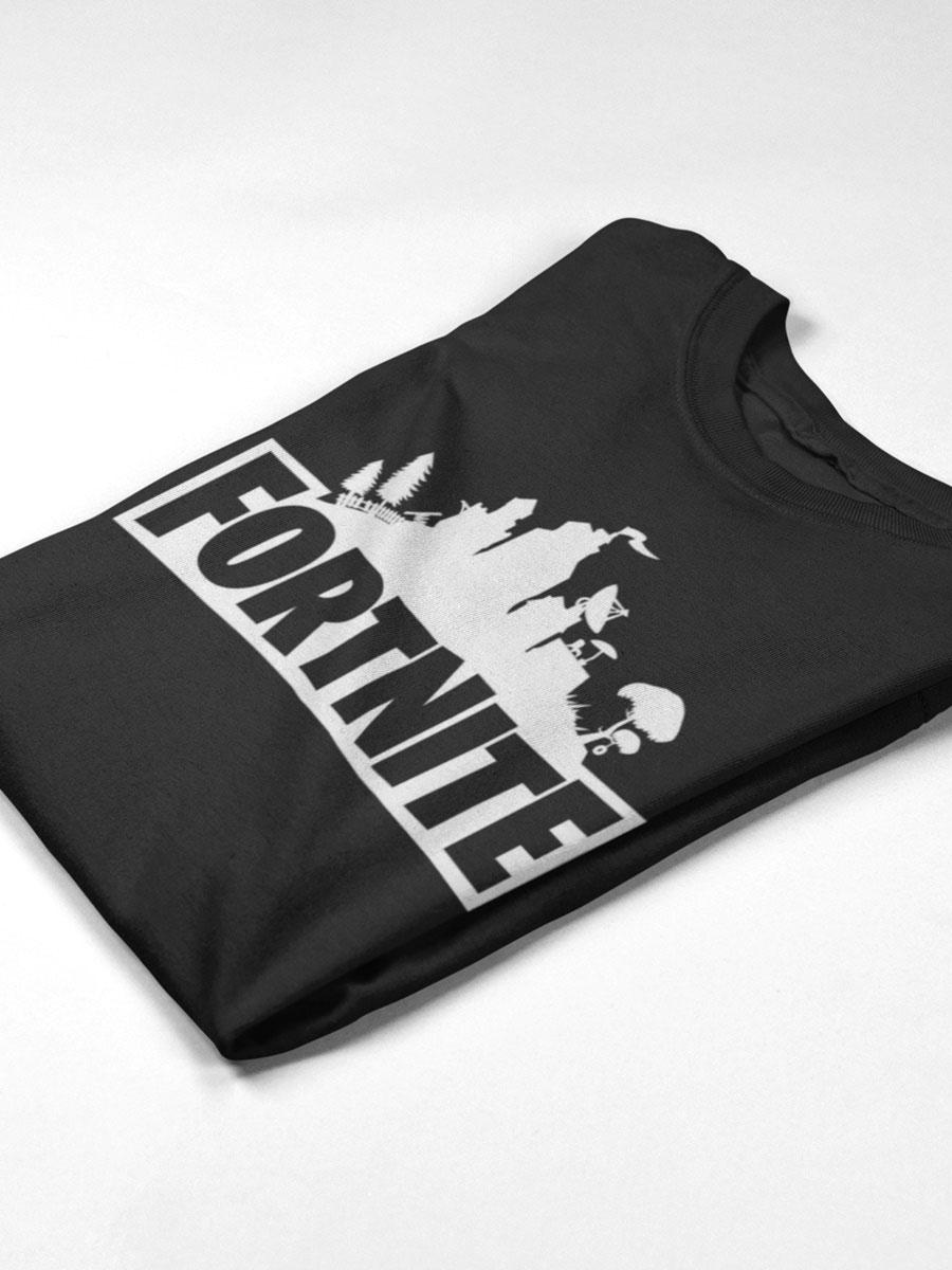 camiseta de fortnite doblada negra