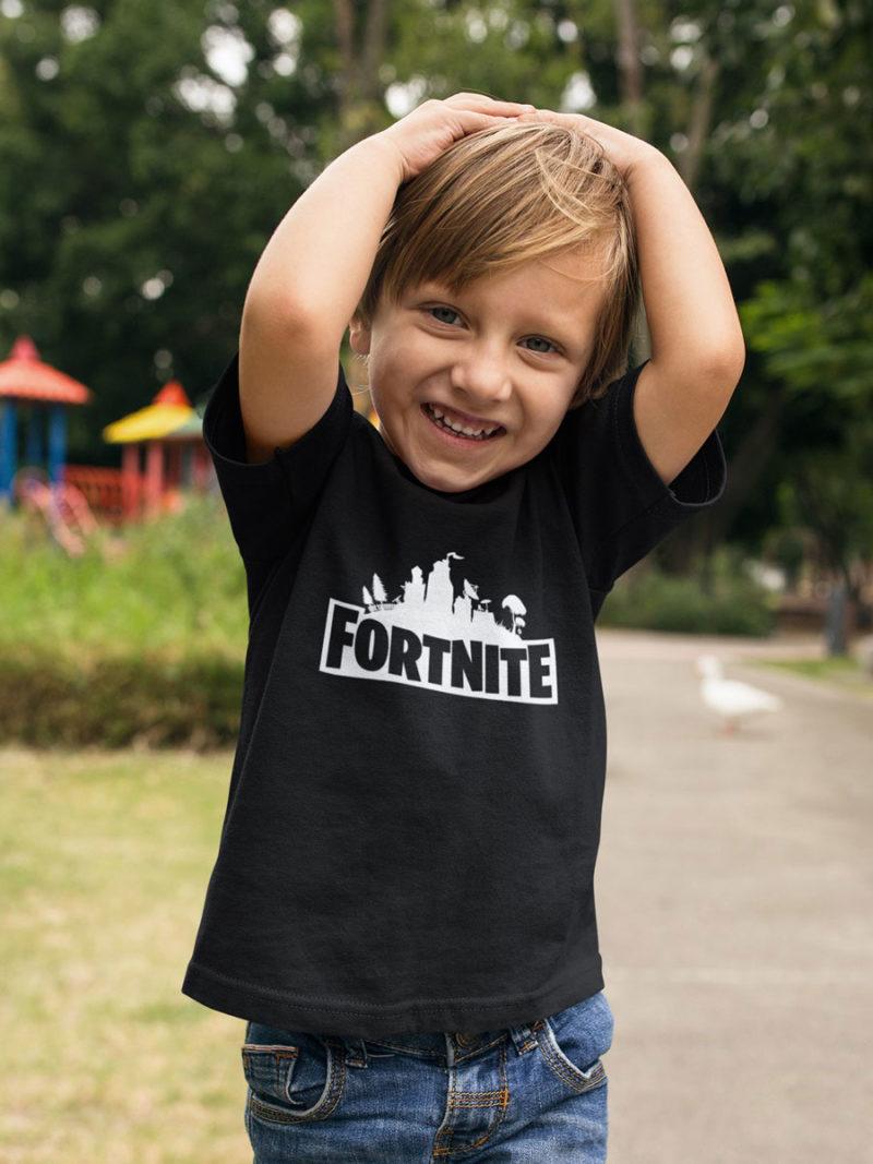 camiseta de fortnite nino negra
