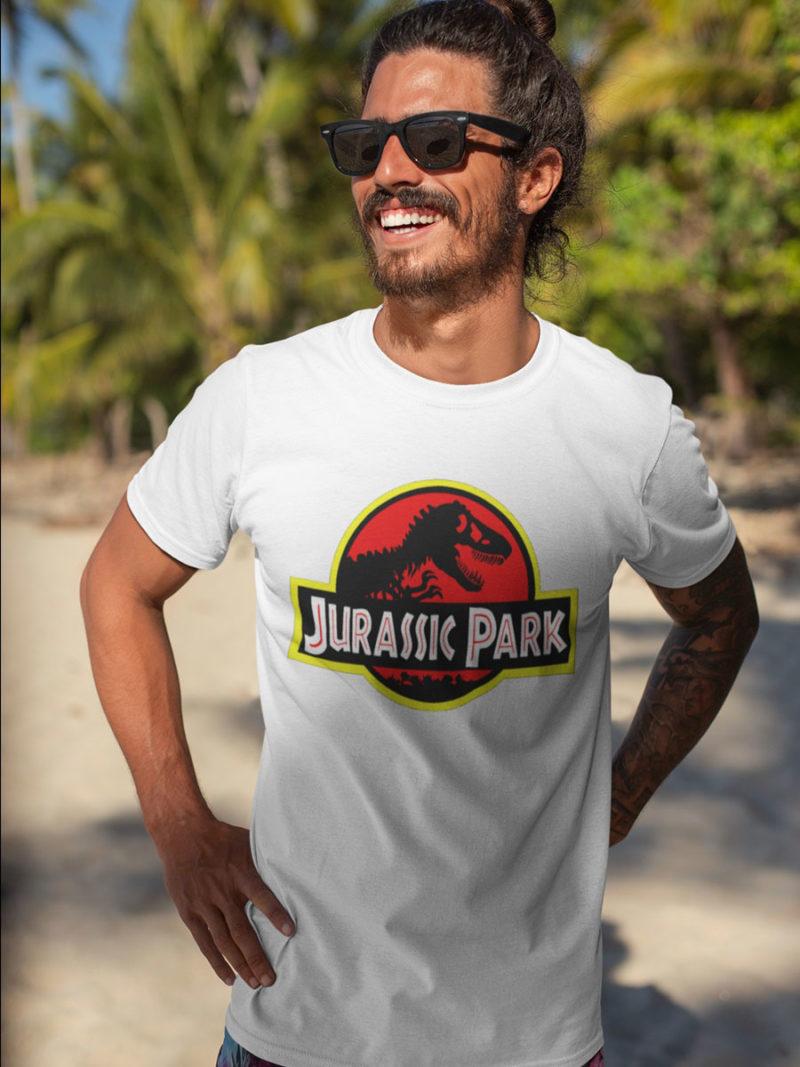 camiseta jurassic park blanca adulto