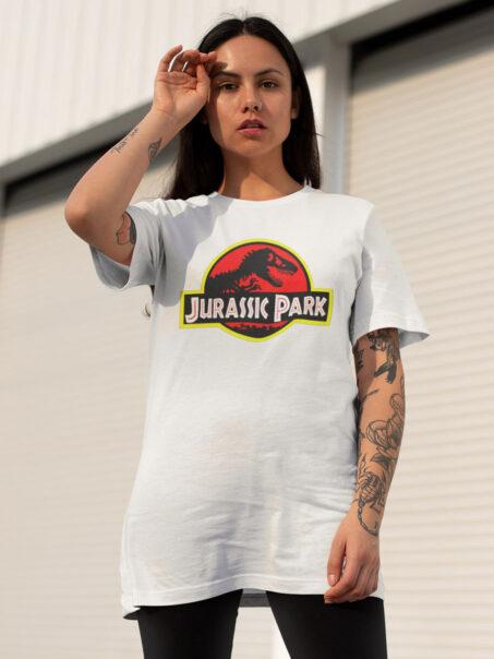 camiseta jurassic park blanca unisex
