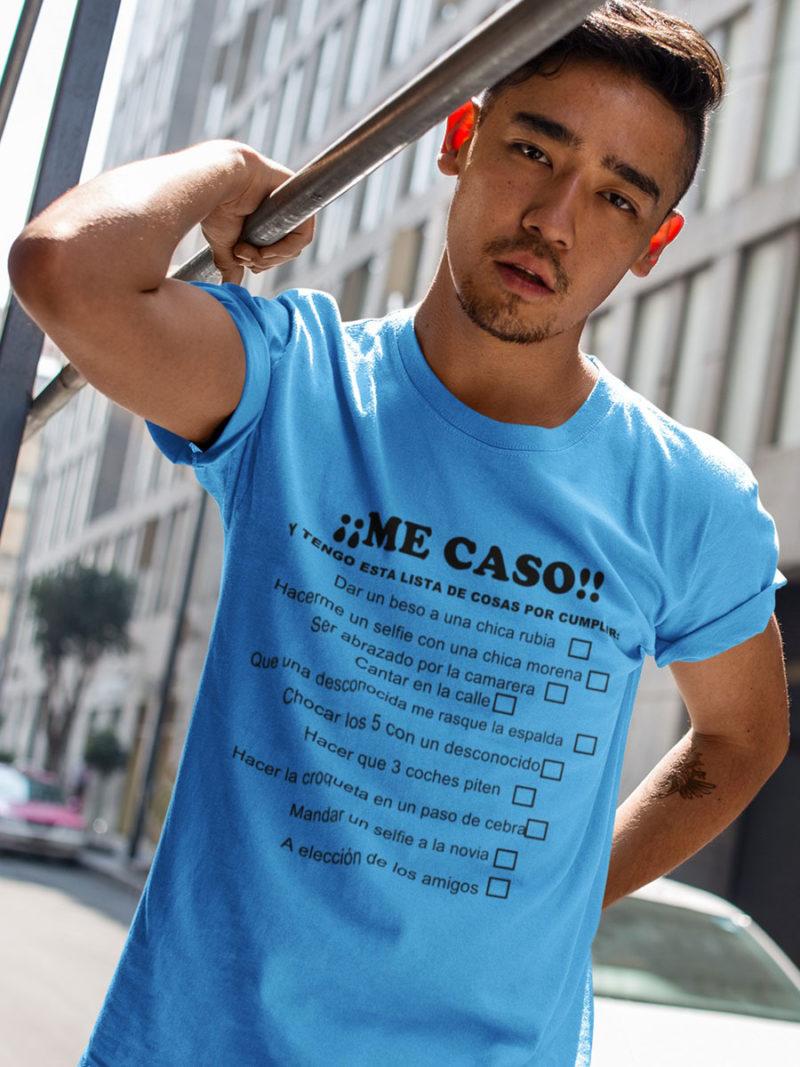 camiseta me caso azul