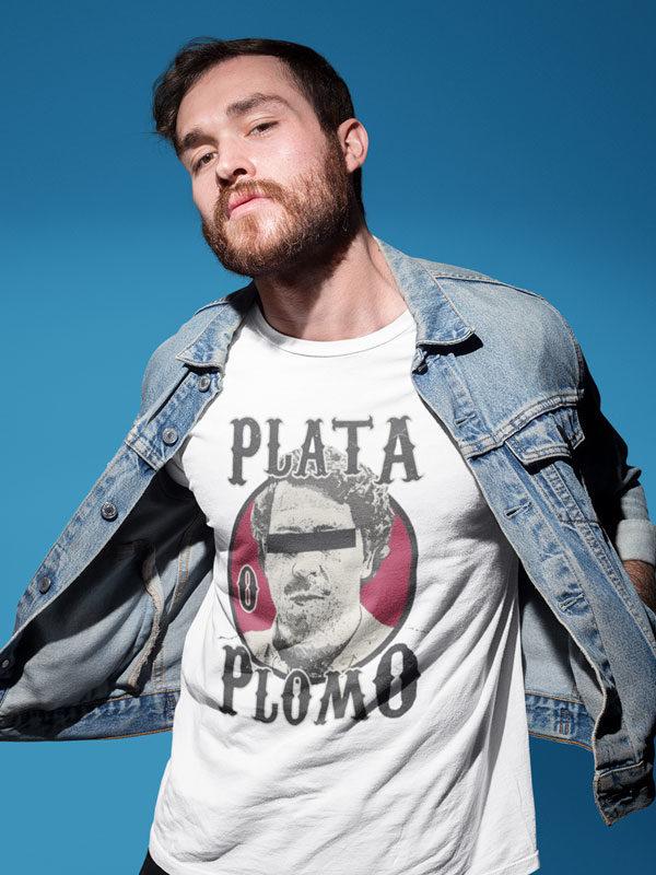 camiseta de narcos plata o plomo