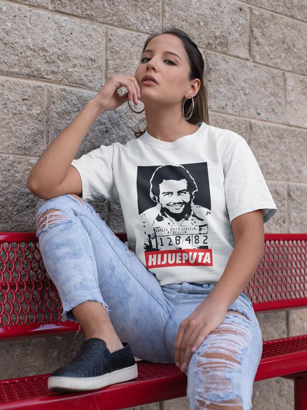 camiseta pablo escobar hijoeputa unisex blanca