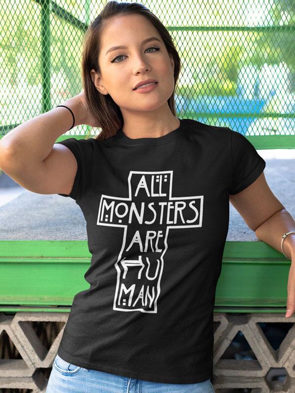 All monsters are human camiseta cruz unisex