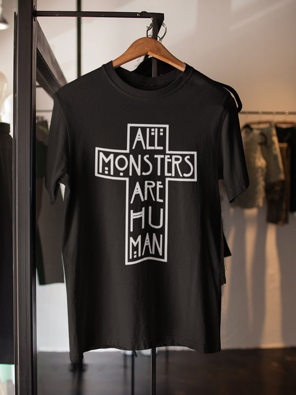 All monsters are human camiseta cruz