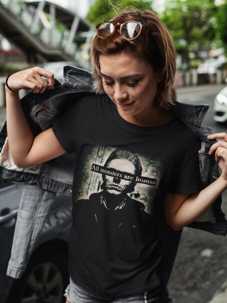 All monsters are human camisetas unisex
