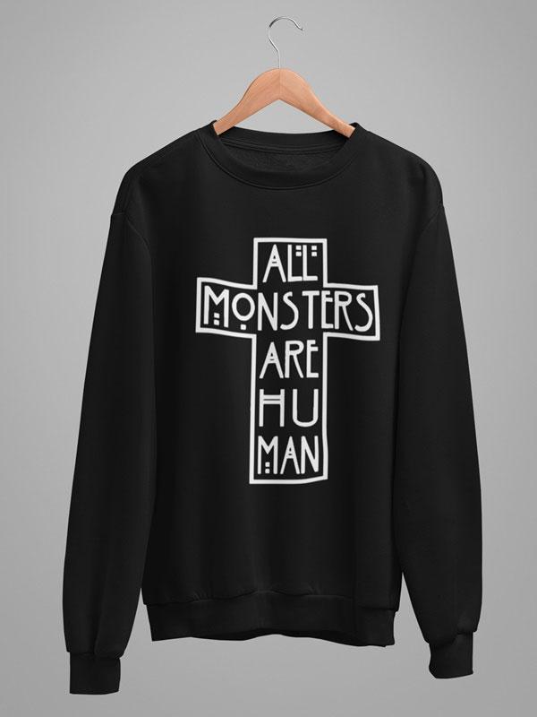 All monsters are human sudadera cruz infantil