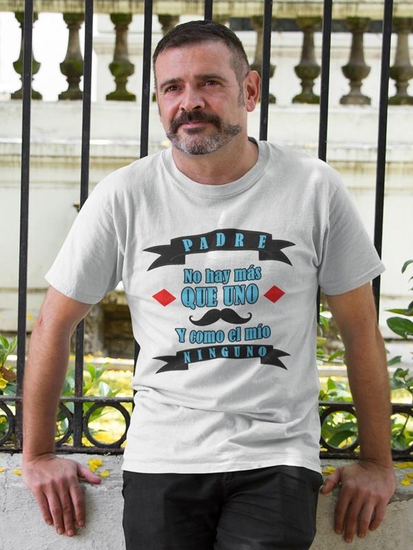 camiseta con mensaje del dia del padre en blanca