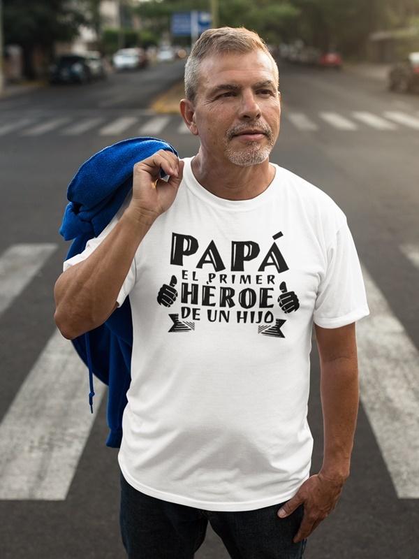 camiseta dia del padre superheroe en blanca