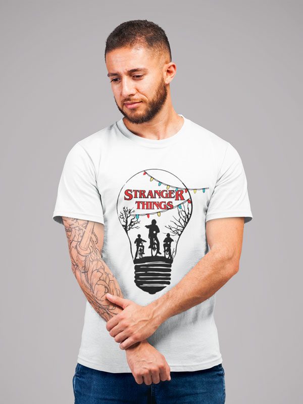 camisetas stranger things bombilla adulto