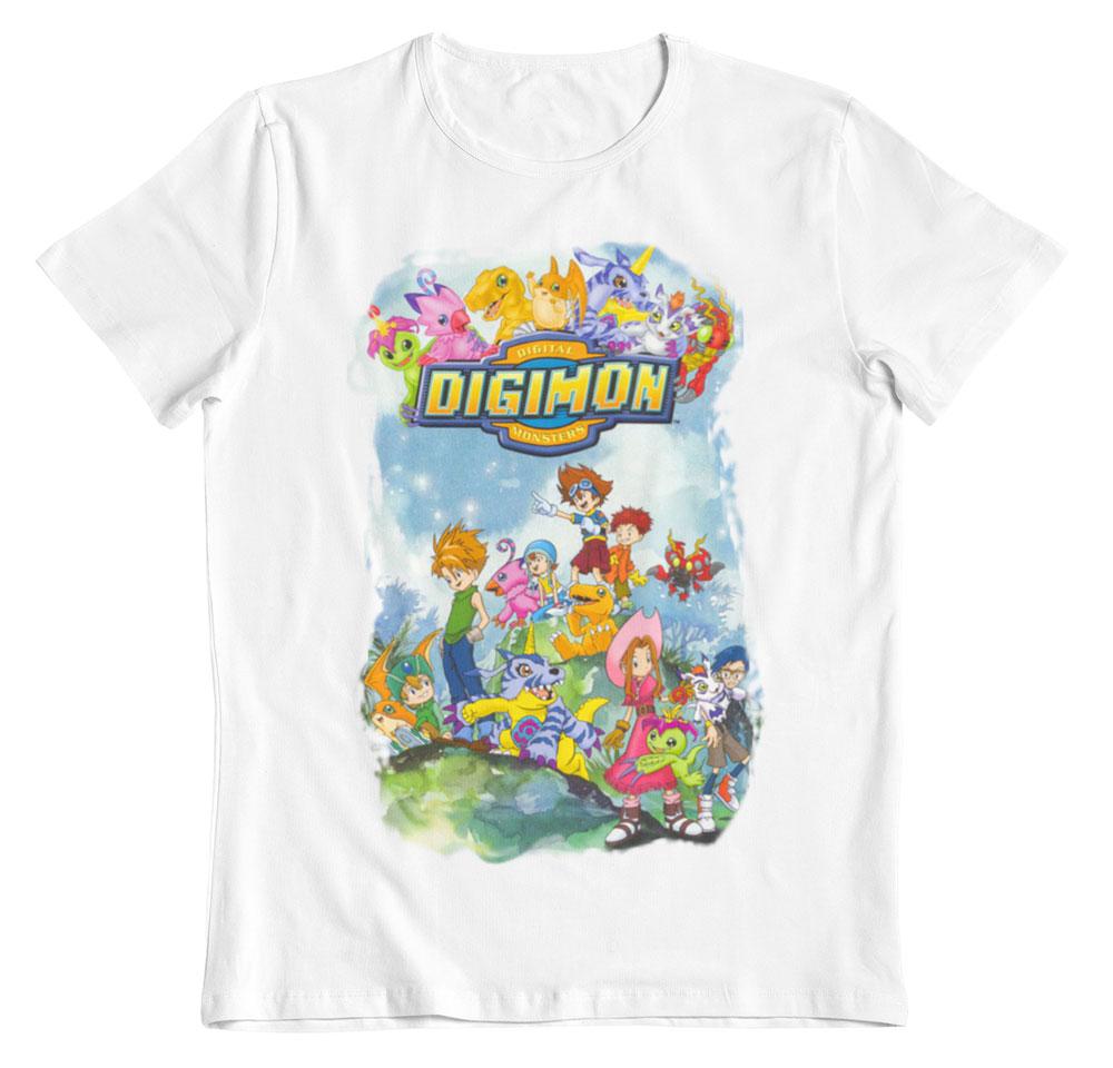 Camiseta Digimon monstruos digitales blanco