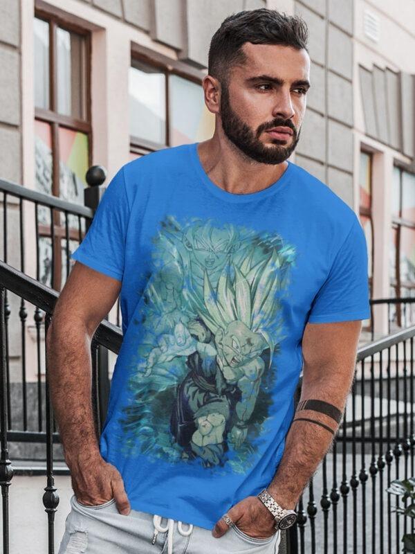 camiseta dragon ball ataque de gohan padre e hijo azul