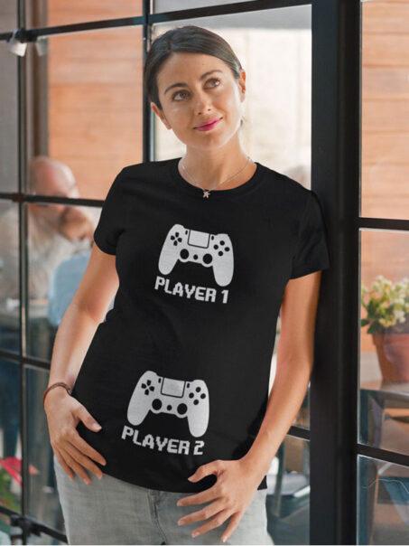 camiseta embarazada player 1 player 2