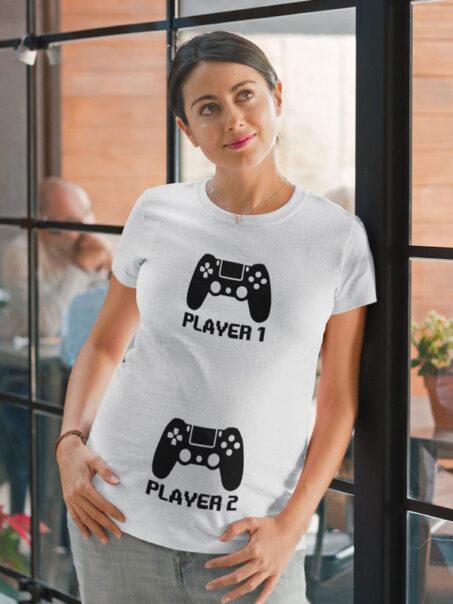 camiseta embarazada player 1 player 2 blanca