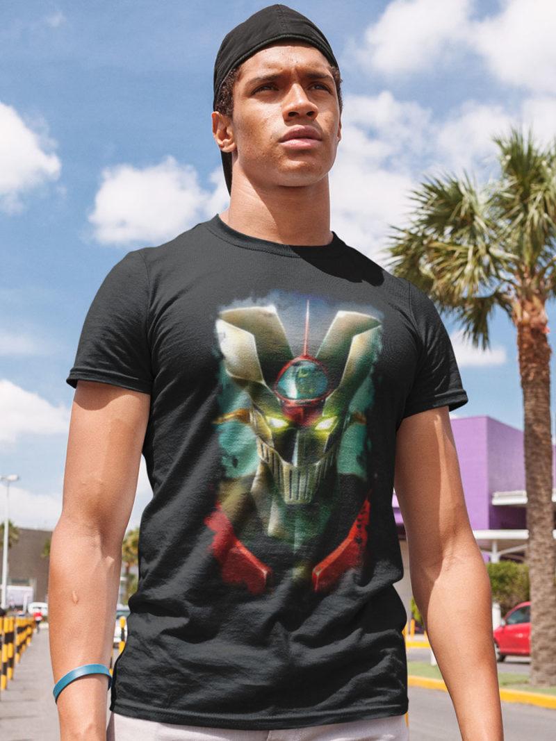 camiseta mazinger z difuminado negra
