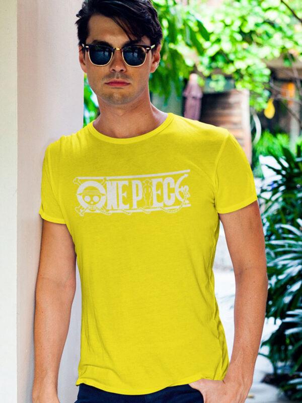 camiseta one piece logo amarilla