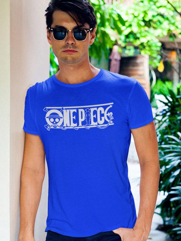 camiseta one piece logo azul