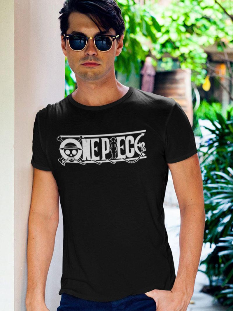 camiseta one piece logo negra