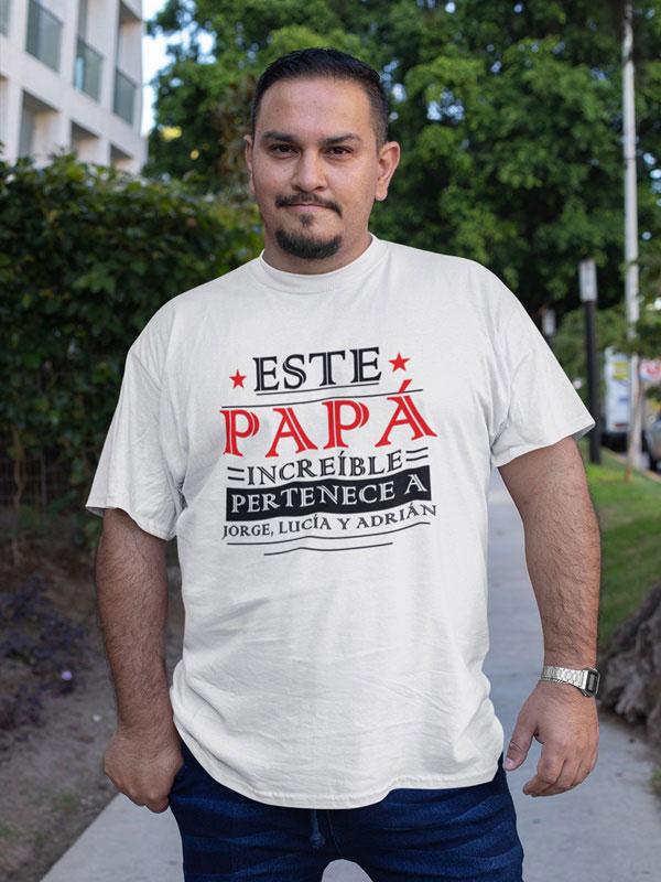 camiseta personalizada dia del padre este papa pertenece a nombre personalizado en blanca