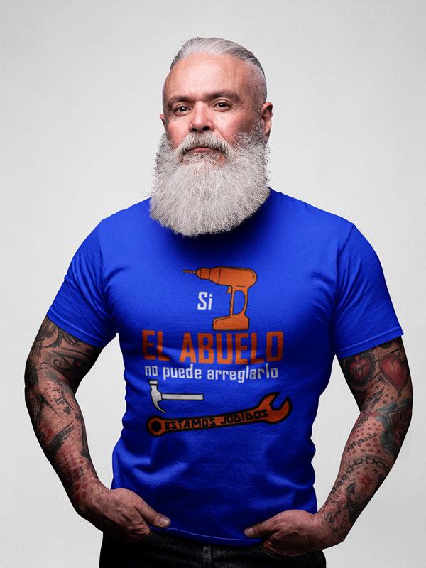 camiseta si el abuelo no puede arreglarlo color azul