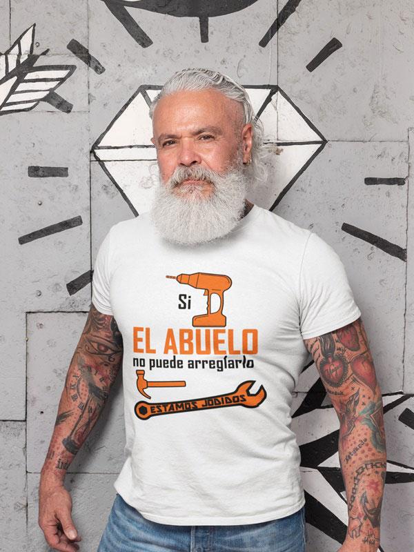 camiseta si el abuelo no puede arreglarlo color blanco