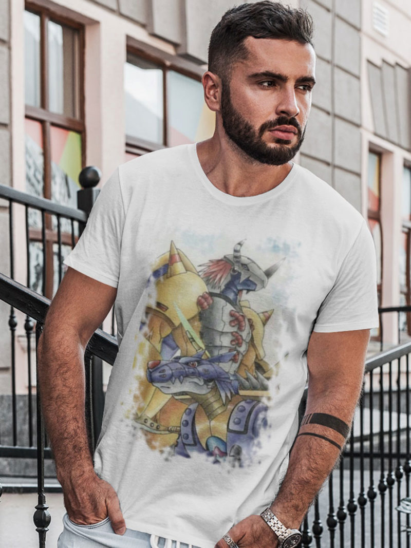Camiseta Wargreymon y Metalgarurumon blanca
