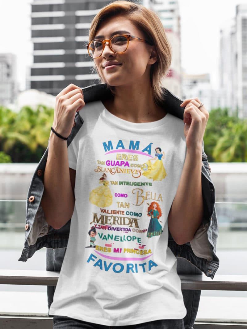camiseta dia de la madre princesas disney blanco