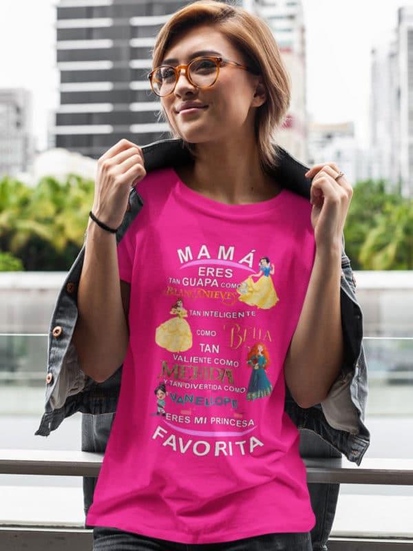 camiseta dia de la madre princesas disney fucsia