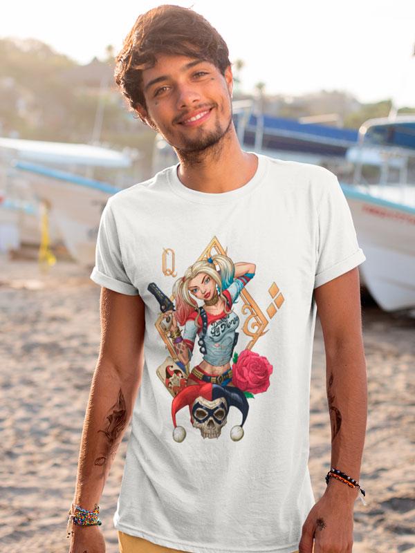 Camiseta Harley Quinn Rosas Blanca