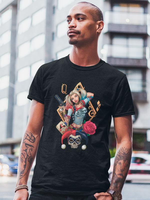 Camiseta Harley Quinn Rosas Negra