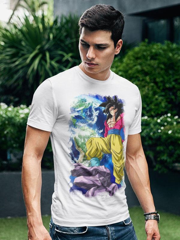 Camiseta dragon ball super saiyan 4 blanca