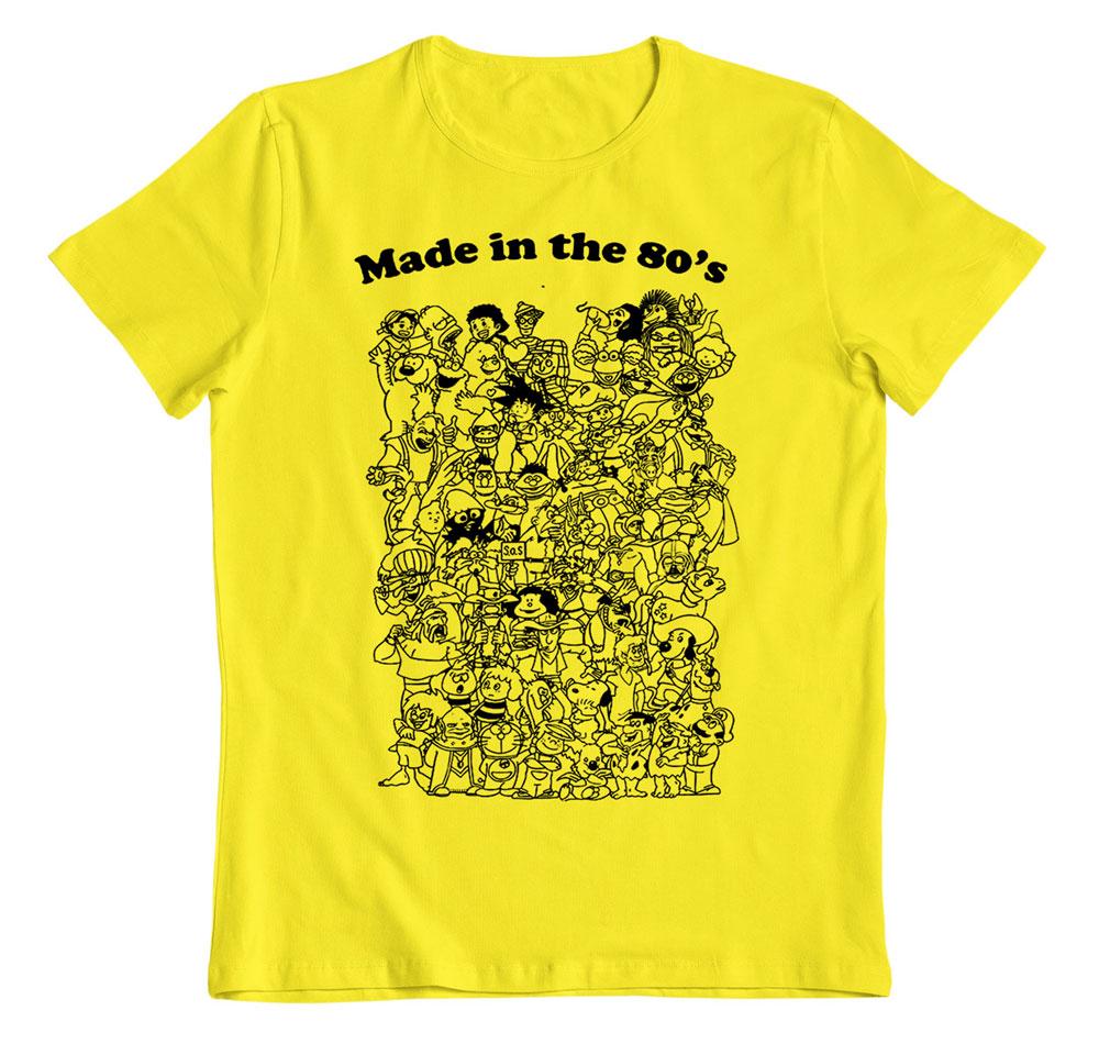 Camiseta animes made in the 80´S camiseta amarilla