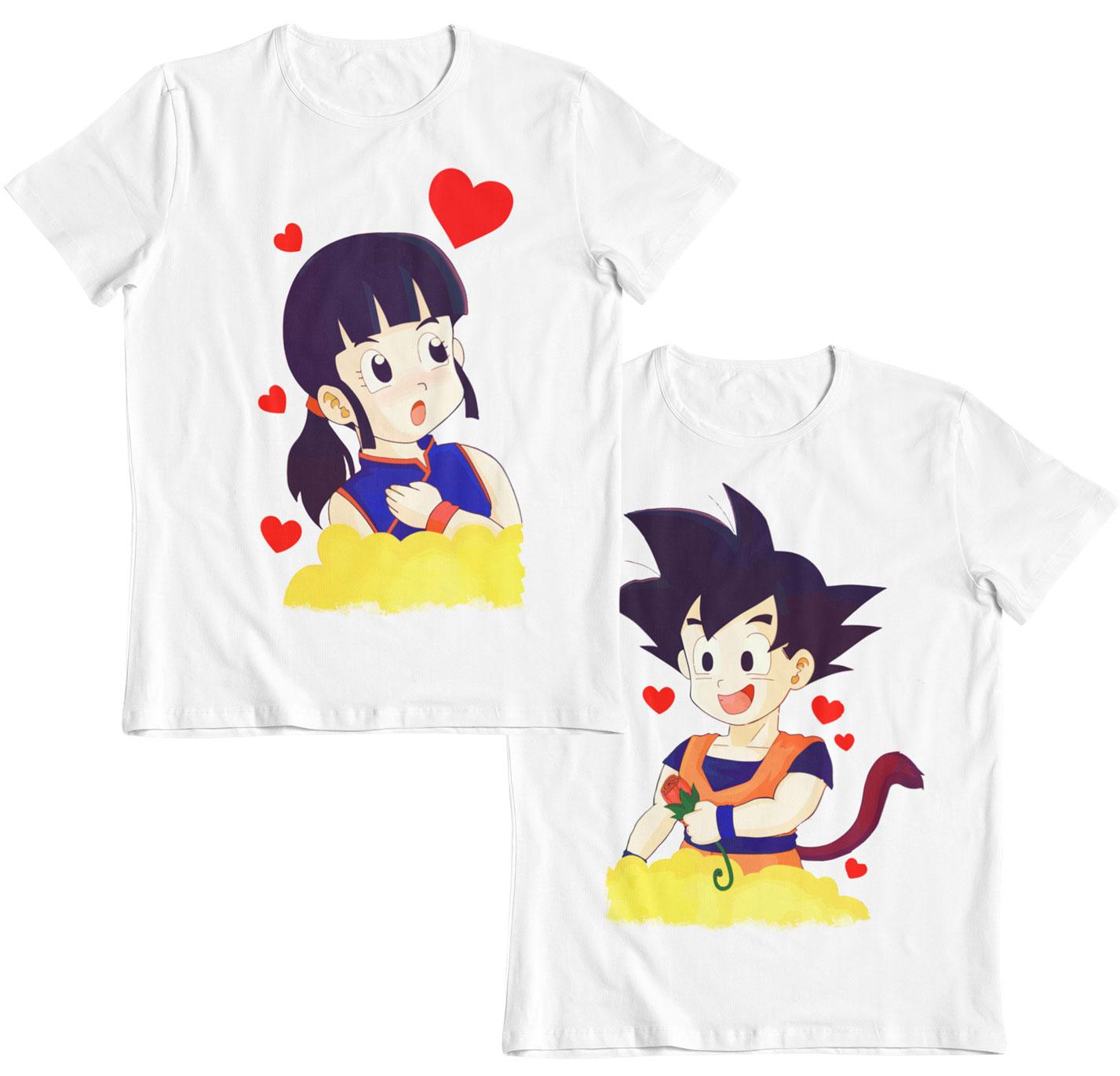 goku y chichi en la nube pack dos camisetas san valentin