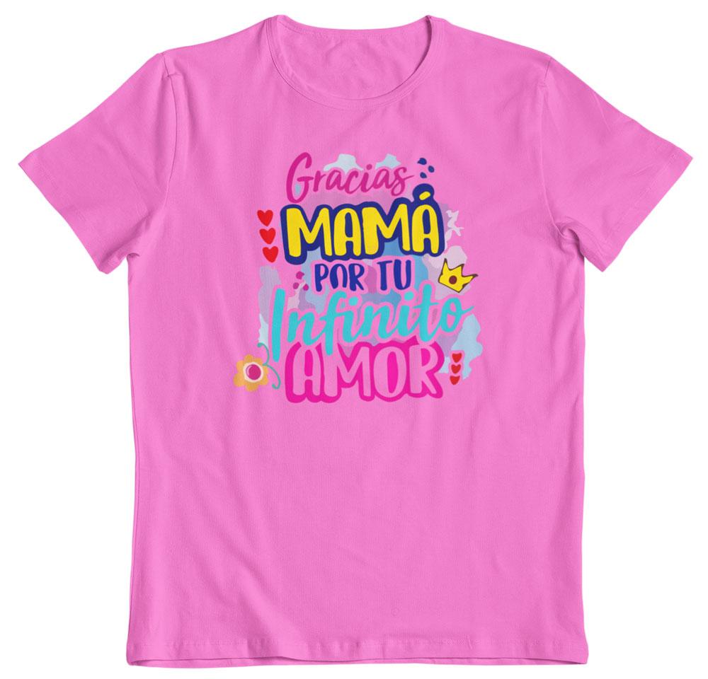 Camiseta día de la madre mama gracias por tu amor rosa