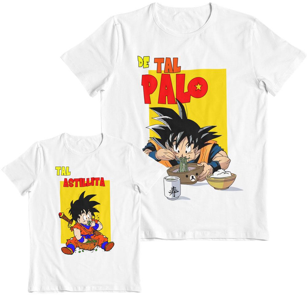 Kit 2 camisetas Dragon Ball Goku y Gohan de tal palo tal astilla