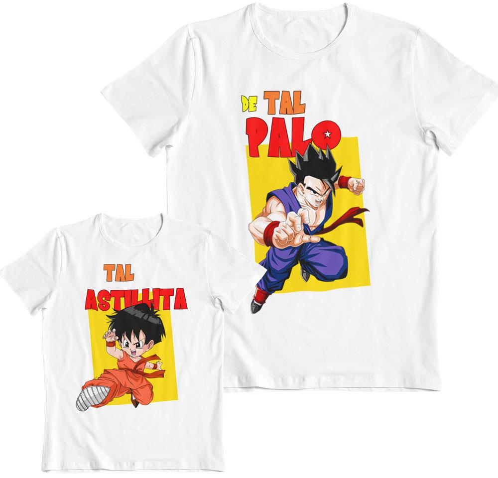 Kit 2 camisetas Dragon Ball Son Gohan y Pan de tal luchador tal luchadora
