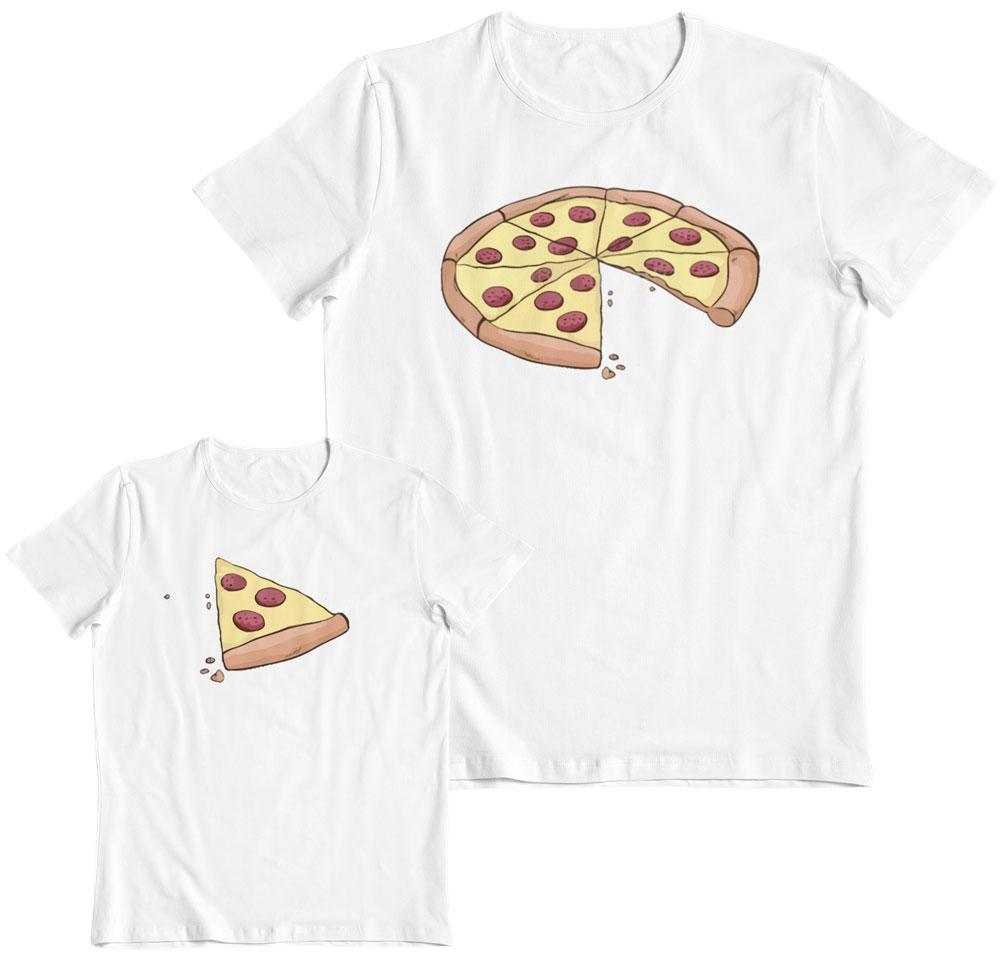 Kit 2 camisetas padre e hijo pizza y porción
