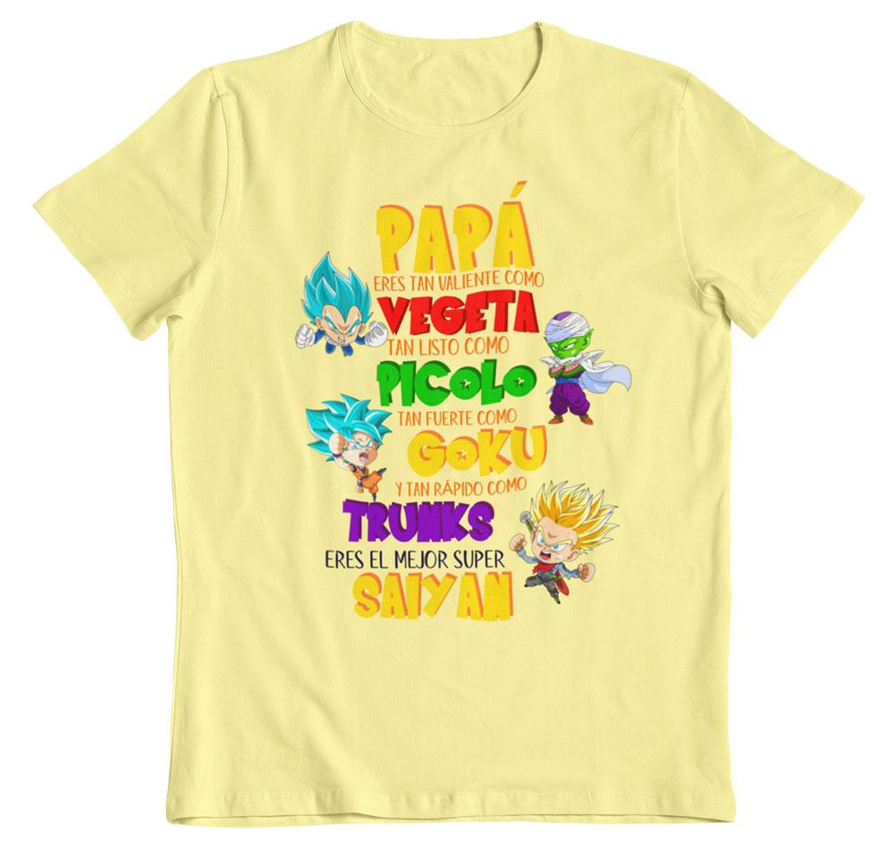 Camiseta día del padre dragon ball z amarillo pastel
