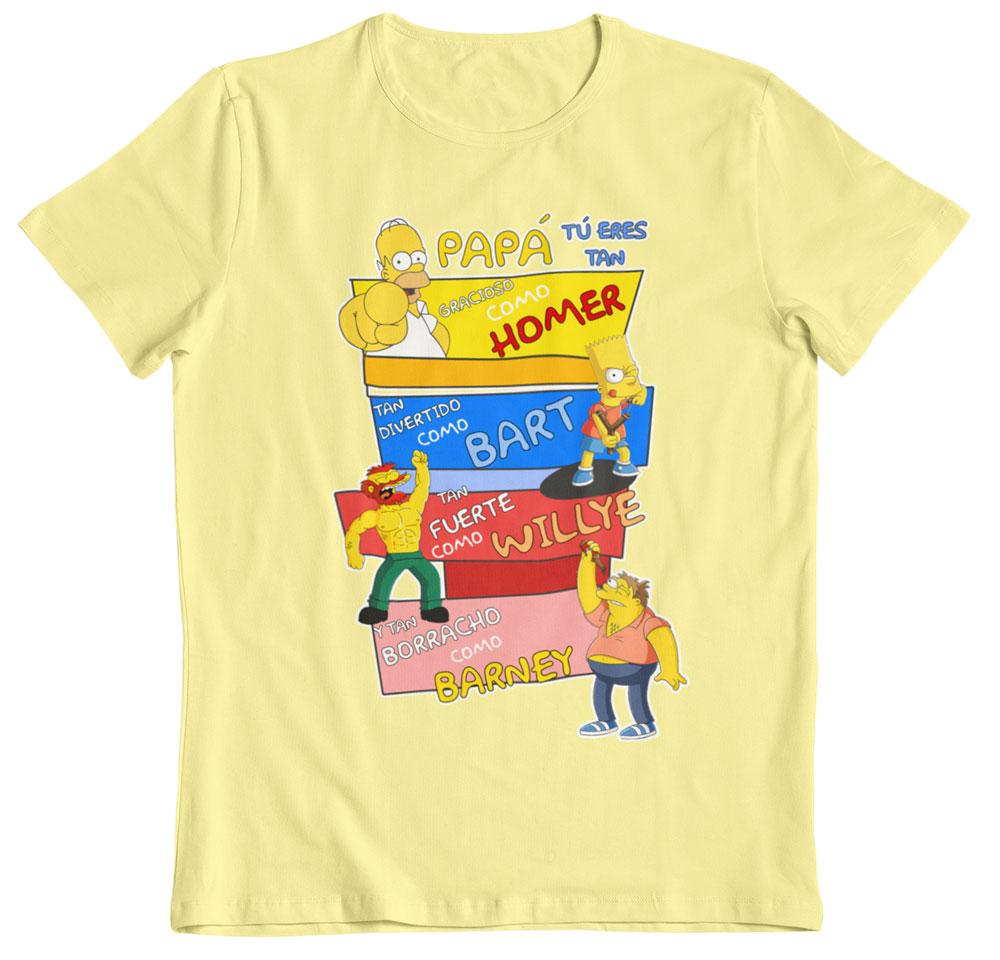 Camiseta día del padre los Simpson amarillo pastel